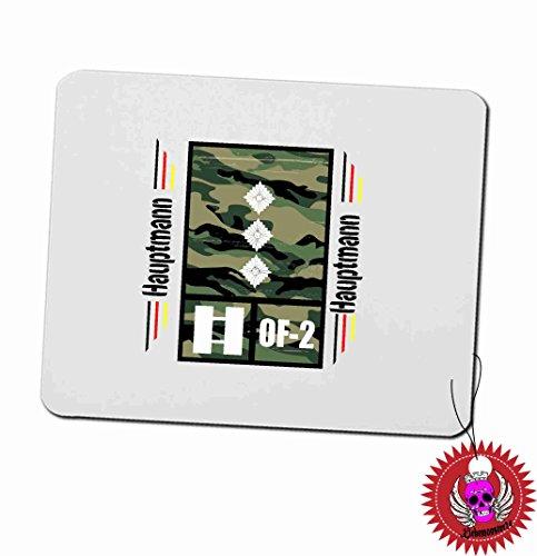 """Mousepad 3mm mit Aufdruck Spruch """" Hauptmann OF-2 ARMY Airforce Heer Luftwaffe … """" Bedrucktes Kissen Dekokissen Kuschelkissen Dienstgradabzeichen der Bundeswehr Heer Luftwaffe Marine"""