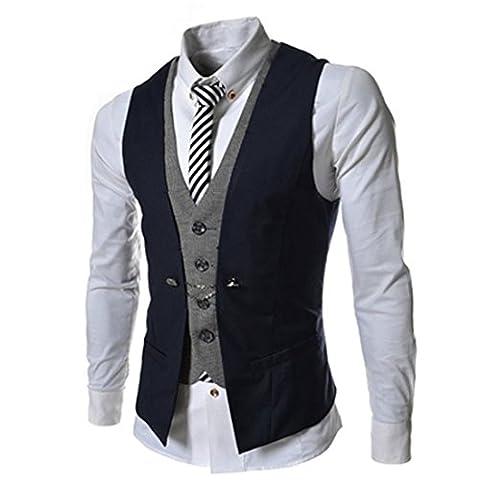 Lanmworn Herren Weste Slim Fit Mode Leicht Anzugweste, V-Ausschnit Jacke Vintage Business Vest Herrenweste FüR Hochzeit Fest Business (Button-down-cotton Cardigan)