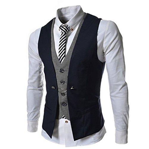 Lanmworn Herren Weste Slim Fit Mode Leicht Anzugweste, V-Ausschnit Jacke Vintage Business Vest Herrenweste FüR Hochzeit Fest Business Lässige (Herren Anzüge Leichte)