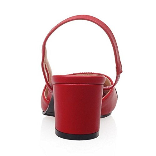 COOLCEPT Femmes Mode Bloc Talon Bas Sandales Slingback Peep Toe Soiree Chaussures Rouge