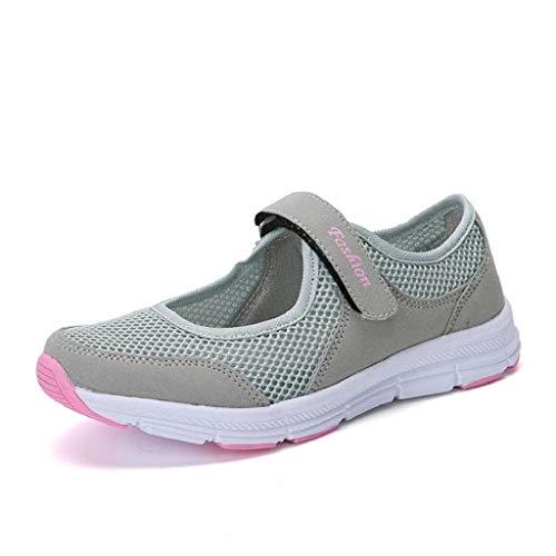 Skang Damen EinfachEinfarbiger Mesh-Klettverschluss Flacher Freizeitschuhe Bequeme Atmungsaktive Frische Und Leichte Sneaker(38 EU,Grau)