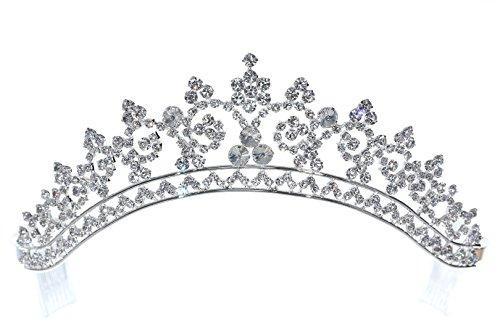 Venus Jewelry Tiara de princesa para mujer Plateado