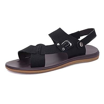 Easy Go Shopping Pantoufles de Plage en Cuir de Vachette Véritable pour Hommes Sandales Occasionnels Chaussures à Semelle antidérapante, Sandales à Bascule pour Hommes (Color : Orange, Size : 44 EU)