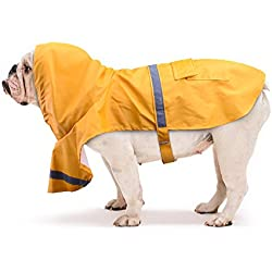 Kupet Chubasquero Impermeable para Perro Chaqueta Impermeable para Animal Doméstico con Correa Reflectantes Raincoat con Material de Ropa Deportiva Al Aire Libre BP04 (M, Amarillo)