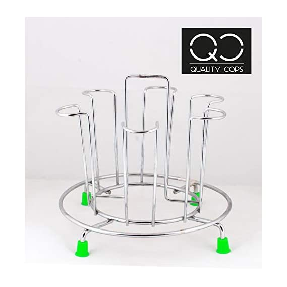Quality Cops Steel Glass Stand (Silver)