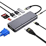 Hub USB C, concentrador tipo c 9 en 1 con 4K HDMI,VGA,USB 3.0, USB-C Power Delivery, 3,5mm Audio Jack,Lector de Tarjetas SD/TF, Samsung Dex Adaptador para MacBook Pro 2019 y más dispositivos (Grey)