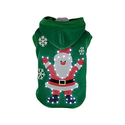 Pet Life LED Lighting Hands-Up-Santa Sweater Pet Costume, -