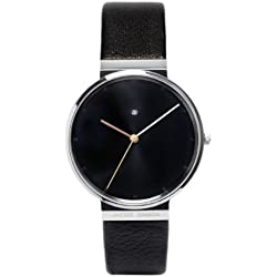 Jacob Jensen Dimension Series Men's Quartz Watch with Black Dial Analogue Display and Black Leather Strap 842
