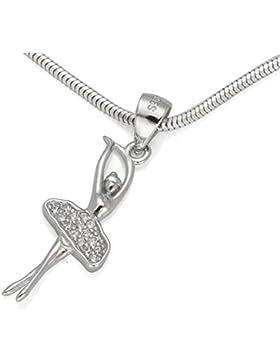 925 Silber Set Ballerina Tänzerin Zirkonia Anhänger mit Silberkette 40 45 50 55 60 cm Längen #1199