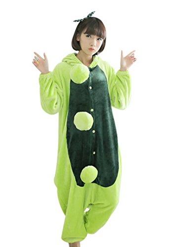 Feoya Pyjama Unisex Onesie Tier Kostüm Flannell Sleepwear Cartoon Erbse Cosplay für Weihnachten Ostern Hallowee Karneval Winter Homewear mit Kapuze-Rosa-XL (Erwachsene Erbsen Kostüme)