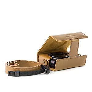 MegaGear MG694 Ever Ready Leather Camera Case with Strap for Canon PowerShot G9 X Mark II - Light Brown