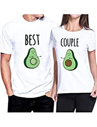 Jumojufol Camisetas De Regalo De Mujer para Hombre Mejor Pareja Aguacate Cuello Redondo 2 Pack
