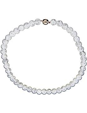 Yvesse Damen-Collier Halskette Sterling-Silber 925 rosévergoldet Magnetschließe Bergkristall crashed 45cm