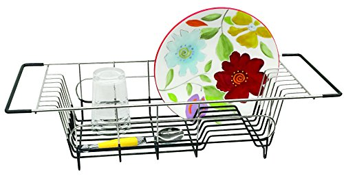 "Better Housewares Better Houseware Over Sink Dish Drainer, 19.25 x 8.25 x 4.5""H, Stainless Steel"