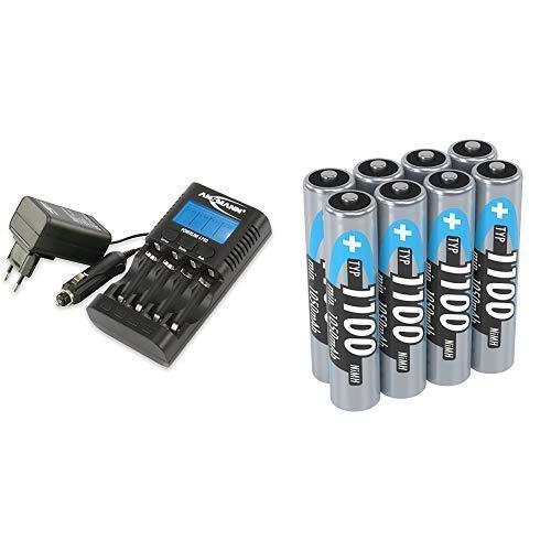 ANSMANN Powerline 4 Pro Akkuladegerät / Multifunktionale Akku Ladestation für 1-4 NiMH/NiCd-AA oder AAA Akkus & Micro AAA Akku 1.2V Typ 1100mAh - NiMH Akku Batterien AAA für Geräte  ideal - 8 Stück