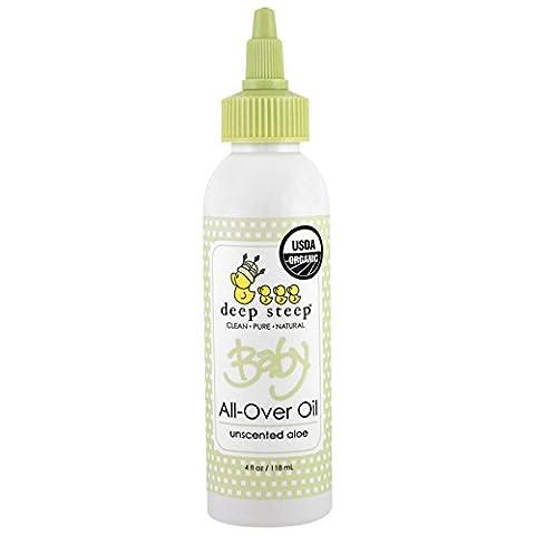 All-Over Huile bio pour b̩b̩s, sans parfum Aloe, 4 fl oz (118 ml) - Steep profonde