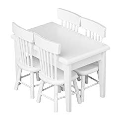 Tinksky 5pcs 112 Dollhouse Miniature Dining Table Chair Wooden Furniture Set (White)