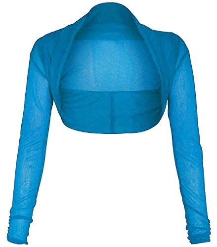 Islander Fashions Womens Chiffon Crop Bolero Shrug Ladies Manica Lunga Full Mesh Cardigan Shrug S/3XL Turquoise