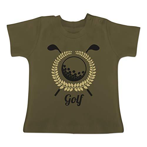 Sport Baby - Lorbeerkanz Golfschläger Golfball - 12-18 Monate - Olivgrün - BZ02 - Baby T-Shirt Kurzarm