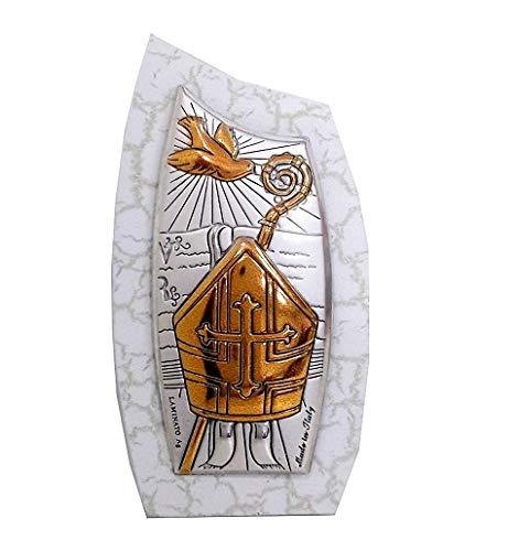 Cvc srl - bomboniera per cresima in legno forma a vela di colore bianco con raffigurazione colomba e cappello papale in argento bilaminato 925 e oro