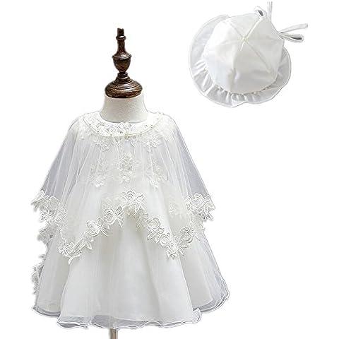 3pcs Baby Girl apliques florales satén marfil bautizo albornoz Party Dress