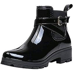MXJEEIO Botas de Agua Plana Antideslizante con la Caña en el Tobillo Bota de Goma Mujer Impermeable Lluvia Zapatos Tobillo Casual Calzado Punta Redonda Cómoda Diaria para Mujer