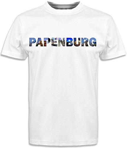 Black Dragon - T-Shirt Herren mit Städtenamen Papenburg Gr.XL weiß - Fasching Party Geschenk Funshirt
