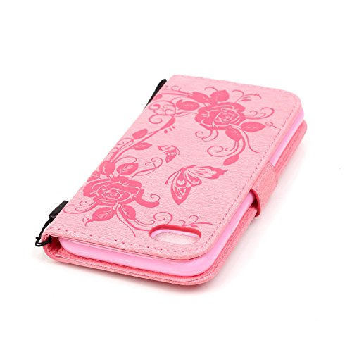 Dual Side Embossed Blumen Schmetterling Fall Deckung Wallet Stand Case mit Handschlaufe für iPhone 7 ( Color : Pink , Size : IPhone 7 ) Pink