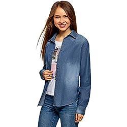 oodji Ultra Mujer Camisa Vaquera con Botones a Presión, Azul, ES 44 / XL