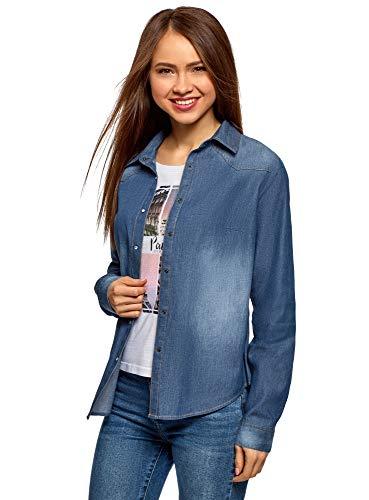 Oodji ultra donna camicia in jeans con bottoni a pressione, blu, it 46 / eu 42 / l