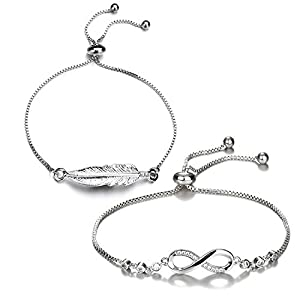 Damen Armband 2PCS silber Armbänder Schmuck Set, Infinity Blätter vintage Armkette Armband Verstellbar Charm Armkettchen