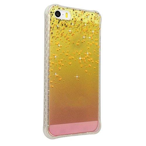 Coque iPhone 5 5S, Étui pour iPhone SE Case, Moon mood® Housse iPhone 5 Silicone Coque Étui Téléphone Couverture TPU Clair éclat Bling Brillant Glitter Diamant Strass avec Fleur Motif Ultra Mince Flex Style-10