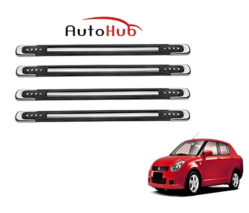 Auto Hub Rubber With Chrome Finish Car Bumper Guard Protector For Maruti Suzuki Swift Dzire - Black  available at amazon for Rs.449