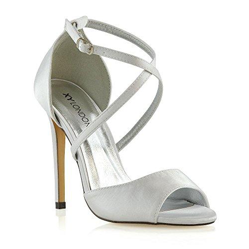 ESSEX GLAM Donna Tacco a Spillo Cinturino alla Caviglia Sandali Le Signore Nuziale Scarpe (36 EU, Bianco Satin)