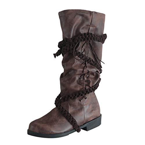 ODRD Retro Stiefel Herren Damen Leder Cross Strap Kniehohe Schuhe Cowboy Schnürstiefel mit niedrigen Absätzen Booties Stiefeletten Combat Wanderschuhe Military Stiefel Winterstiefel
