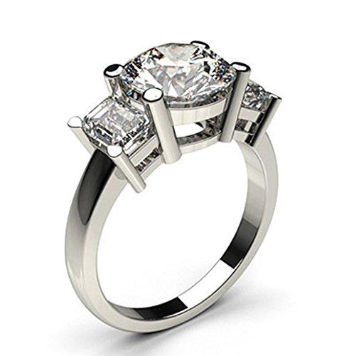 Anello di fidanzamento in oro bianco 18k con 3 diamanti incastonati a quattro griffe, taglia 8