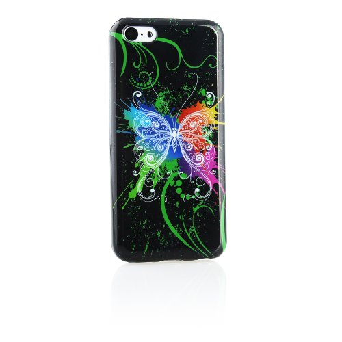 Kit Me Out FR Coque en gel TPU pour Apple iPhone 5C - multicolores cercles et fleurs noir papillon multicolore