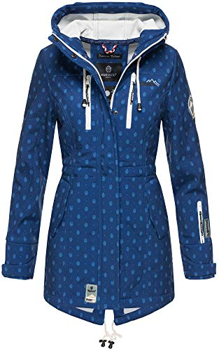 Marikoo Damen Winter Jacke Winterjacke Mantel Outdoor wasserabweisend Softshell B614 (Gr. XL/Gr. 42, Navy Muster)