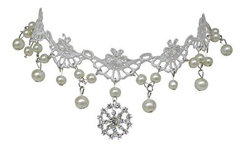 Trachtenschmuck Burlesque Kropfband Collier mit Perlchen und Kristall Anhänger - Spitze Weiß - Brautschmuck Hochzeit