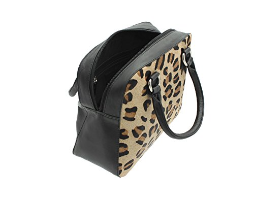 Leopard Black Pelle pelle stampa mala Bag Collection 7102 90 nero Grab della Matrah ttnw46aq