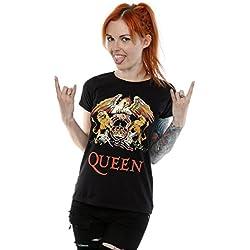 Queen mujer Crest Logo Camiseta Large Negro