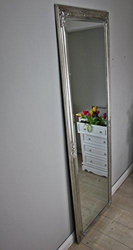 elbmöbel Spiegel groß in silber antik mit Patina 187 x 62cm | Wandspiegel barock aus Holz | im Landhausstil als Badspiegel | Schminkspiegel bzw. Frisierspiegel Standspiegel