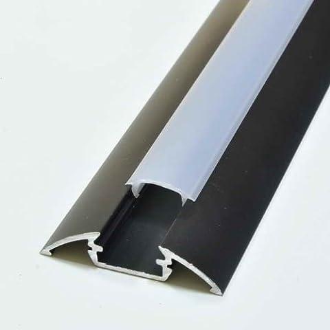 Alu Profil Schwarz Aluminium Eloxiert 2m Abdeckung Opal P4 für LED Streifen
