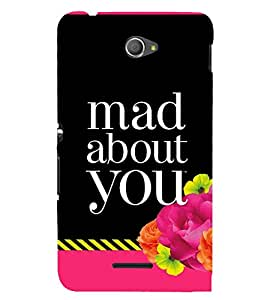PrintVisa Mad About You - Striped Pattern 3D Hard Polycarbonate Designer Back Case Cover for Sony Xperia E4 Dual
