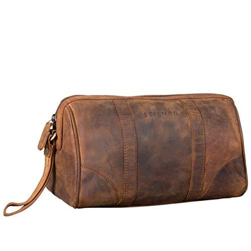 STILORD 'Charles' Kulturtasche Leder Groß Vintage Design für Herren und Damen Kulturbeutel Waschtasche Necessaire mit Henkel, Farbe:mittel - braun