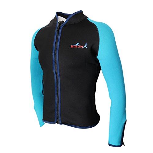 MagiDeal 2mm Männer Rash Guard Langarm Neopren Jacke Sonnenschutz UV Shirt für Tauchen Schwimmen Schnorcheln - Schwarz XXL