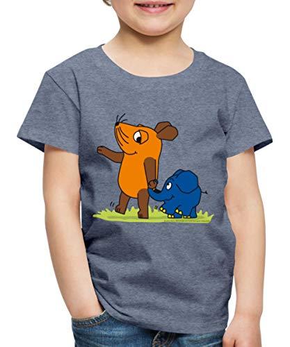 Sendung Mit Der Maus Elefant Und Maus Hand In Rüssel Kinder Premium T-Shirt, 98/104 (2 Jahre), Blau meliert