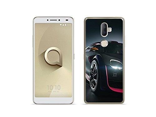 etuo Handyhülle für Alcatel 3V - Hülle Foto Case - Schwarzes Auto - Handyhülle Schutzhülle Etui Case Cover Tasche für Handy