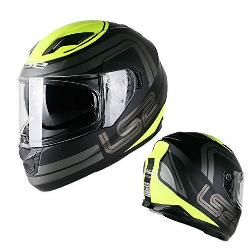 Preisvergleich Produktbild Motorradhelm Integrierte Sonnenblende Doppelvisier Integralhelm Ohne Airbag Motorradhelm Dot-Zertifizierung gelber Holzstern L