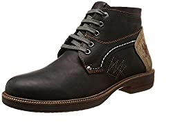Buckaroo RODRIJON-Black Menss Leather Boots-42 EU / 8 US Men